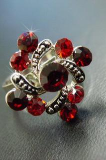 Red Rhinestone Swirl Ring