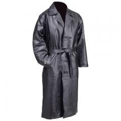 Giovanni Navarre Hand-Sewn Pebble Grain Genuine Leather Trench Coat - L