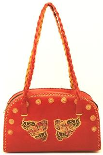 Red Faux Leather Floral Embossed Handbag w/Braided Straps