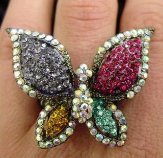 Multi Color Stretchy Rhinestone Butterfly Ring