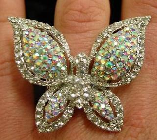 Iridescent Stretchy Rhinestone Butterfly Ring