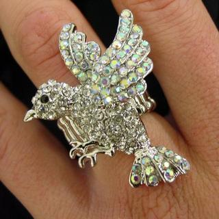 Stretchy Rhinestone Flying Bird Ring