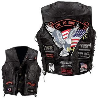Leather Biker Vest with 14 Patches (Size2: M)