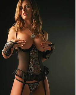 Stunning Black sheer net bustier with flowers, g-string and gloves