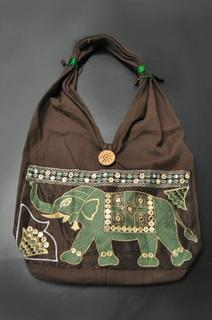 Elephant Brown Cotton Handbag