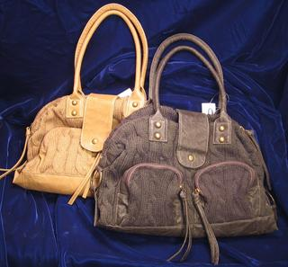 Tan Faux Leather Trim Handbag