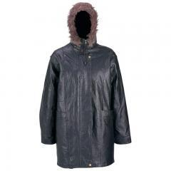 Ladies' Hand-Sewn Pebble Grain Genuine Leather Coat with Faux Fur Hood - XL