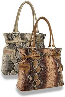 Snakeskin Print Tall Tote Handbag ( Brown )