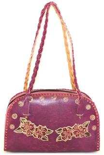 Fuchsia Faux Leather Floral Embossed Handbag w/Braided Straps