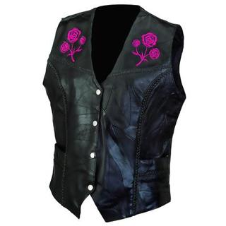 Ladies Rose Design Leather Vest (Size M)