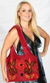 Red Viscose Bag Embroidered