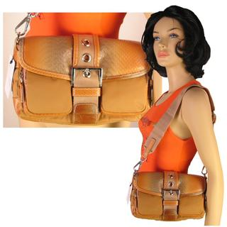 Brown Faux Reptile Skin Handbag w/Adjustable Shoulder Strap