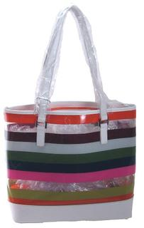 White Trim Tote Style Handbags with Clear and Opaque Colored Stripes